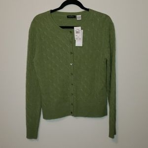NWT Green Cashmere cardigan sweater Nordstrom L
